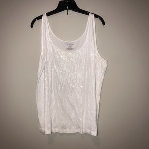 Lane Bryant White Sequin front tank 14/16 1X